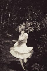 XVI (emilykaar) Tags: blackandwhite black girl monochrome night dark hair woods dress running eerie