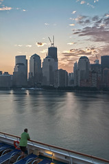 Watching One World Trade Center (1WTC) (CrapulePHL) Tags: world new york nyc cruise carnival sky water skyline clouds sunrise canon one manhattan glory center iso deck 100 usm lower railing trade efs 1022mm hdr 18s f63 22mm f3545 130s 1125s 1wtc