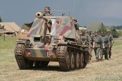 German soldiers marching behind a Marder III Tank-Destroyer (Tim R-