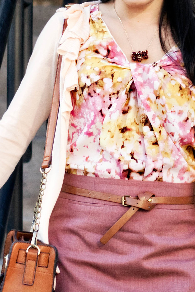 gap corsage peach ruffle cardigan, loft floral shell, j. crew super 120s mauve pencil skirt, agaci brown skinny belt, steve madden elevaate pink suede pumps, melie bianco madison bag, banana republic brown cluster necklace, mk5430