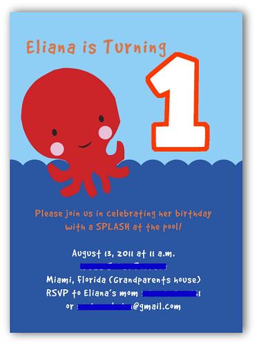Eliana's Under the Sea First Birthday Invitations
