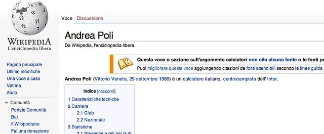 Su Wikipedia Andrea Poli è già dell'Inter