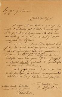 Lettera del cappellano di Cantalupo don Pietro Belossi all'Economo dell'amministrazione dei Luoghi pii del 12 febbraio 1891.