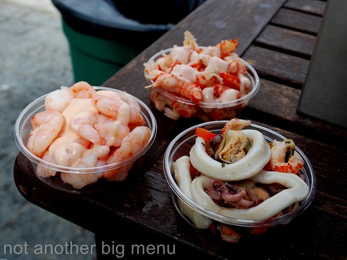 Folkestone, England - Chummy's King prawn, prawn tails and mixed seafood selection
