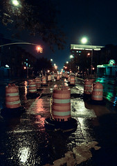 (Ryan Rosa) Tags: road street nyc summer storm wet water rain brooklyn lights do hurricane pass nighttime irene stoplight middle surrounded cones cautiontape