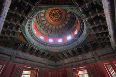 Ceiling of the Pavilion of Myriad Springs, Forbidden City, Beijing (Bobberty) Tags: china city windows roof architecture garden spring seasons beijing ceiling forbidden dome imperial pavilion myriad forbiddencity imperialgarden myriadsprings