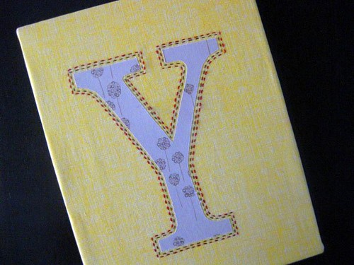 """Y"" with running stitches"
