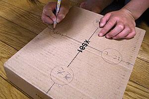 日時計:箱に方位を書く