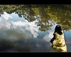 a dreamer dreams...(explored, frontpage) (PNike (Prashanth Naik)) Tags: sky woman reflection tree water lady clouds pond nikon asia sitting dream experiment concept siemreap dreamer cambodi d7000 pnike