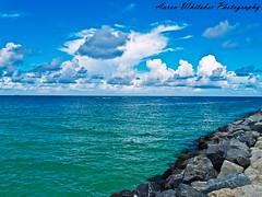 South Pointe Park - Miami Beach FL (Aaron Whitaker) Tags: ocean park blue sky white beach water clouds landscape florida miami south olympus pointe evolt e500