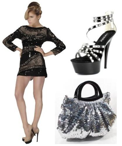 black sequined mini-dress ensemble