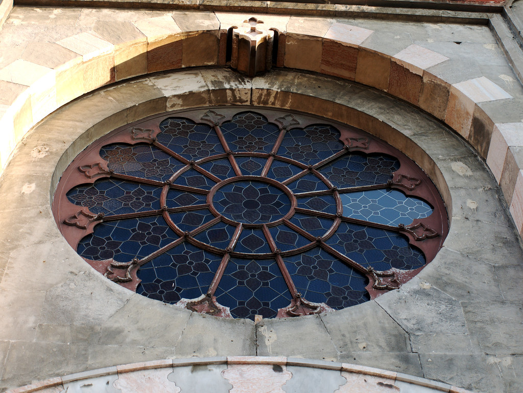 A round stained glass window