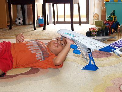 Julian repairs aeroplane
