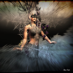 Spider Queen of Athan Selidor (Alles Klaar) Tags: flowers trees woman blur water beauty night clouds reflections mask spiders framed butterflies nails secondlife webs windlight starbursts simplybeautiful filterforge