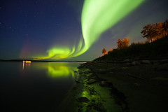 Simpson Sings A Green Song (davebrosha) Tags: night river landscape photography nightscape north nwt astro mackenzie astrophotography northwestterritories northernlights auroraborealis fortsimpson