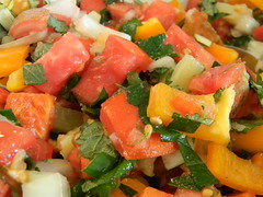Spicy Garden Salsa (jazzijava) Tags: new summer food hot home garden recipe colours bell sweet batch tomatoes blogger september delicious pineapple garlic blogged peppers onion spicy salsa simple cumin homegrown versatile grown greenonion hotpeppers seasalt tangy bellpeppers cheapfood pineapplesage limejuice lemonbalm sweetpeppers 2011 gardenfresh whiteonion limezest summercolours freshtomatoes whatsmellssogood