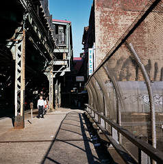 (Adam Lerner) Tags: nyc newyorkcity man film brooklyn rolleiflex train mediumformat subway kodak broadway tracks scan porta williamsburg gothamist elevated bqe curbed streetshot sunsoaked rolleiflext brownstoner adamlerner httpadamlernernet httpadamlernerphotocom