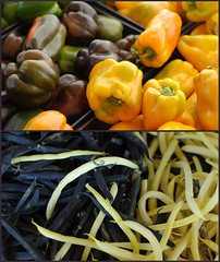 farmers market diptych (lydiafairy) Tags: two green yellow beans diptych yum purple farmersmarket greenbeans veg yellowpepper bellpeppers freshvegetables