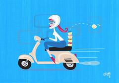 cupcakes a go-go (robolove3000) Tags: cute girl cupcakes vespa scooter retro redhead delicious sprinkles madison wi vector cupcakesagogo