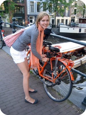 an orange bike, of course!