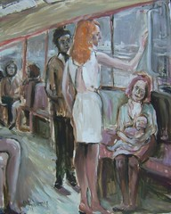 The Train Journey My painting (Captain Wakefield) Tags: portrait people woman baby man sexy art girl standing train painting artist view legs feeding interior story oil talking impressionist figurative samuelburton expressivesitting
