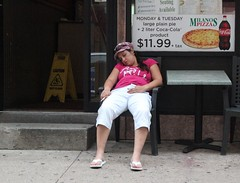 woman passed out (with cigarette in hand) (olive witch) Tags: portrait people usa philadelphia outdoors cafe day place pov fem geo 2011 aug11 abeerhoque