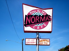 Norma's (LarryJay99 ) Tags: city food coffee sign breakfast outdoors dallas cafe day texas time outdoor diner 50200mm locations eatery normas imagetype photospecs ilobsterit