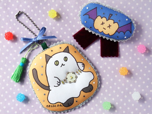 halloween ghost cat charm