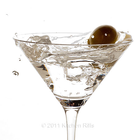 Dry Martini with Olive Splash