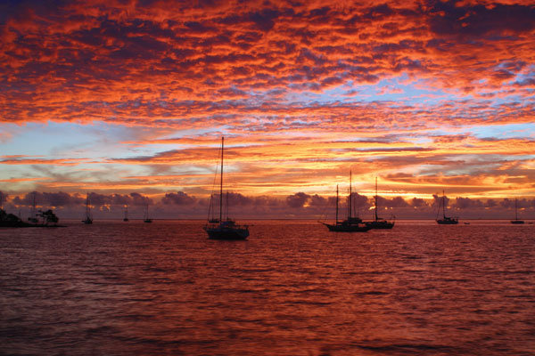 View of the Sun going down in Tahiti