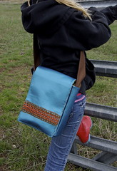 blue vinyl small messenger