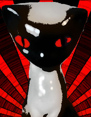 no sunshine (holyghost66) Tags: cats pets art contrast cat graphics feline pussy highcontrast redandblack pussycats catart catfelinemeowcat