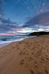"""Journey"" - Warriewood Beach (Luke Peterson Photography) Tags: colour water clouds sand waves dusk shoreline footprints colourful washing warriewoodbeach canon7d"