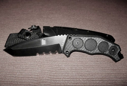 "KA-BAR FIN Fixed 4-7/8"" D2 Steel Combo Edge Tanto Blade with Sheath"
