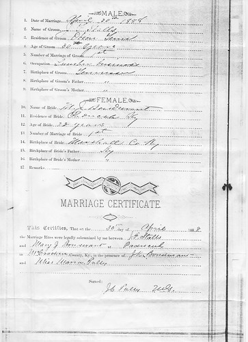 "jfsanniemarriage1James Franklin Stalls and Mary J ""Annie"" Bondurant Marriage"