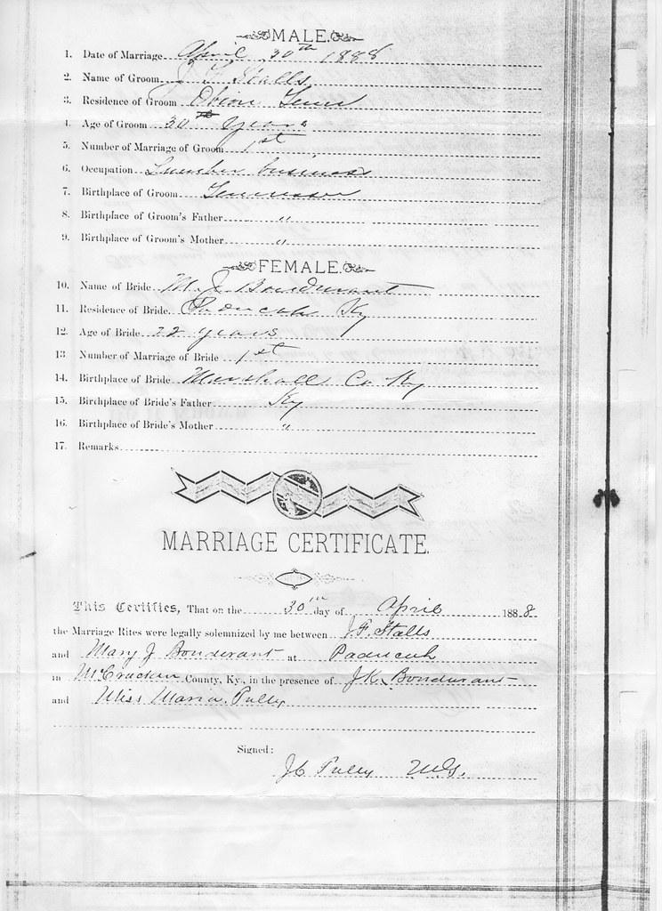 "jfsanniemarriage1James Franklin Stalls and Mary J ""Annie"" Bondurant Marriage"