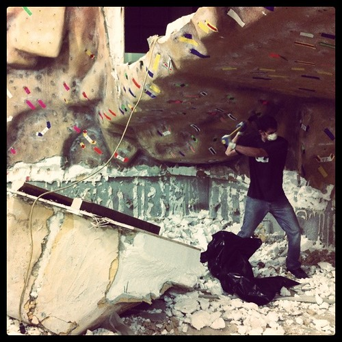 Danny and the bouldering wall