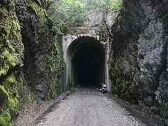 012 East end of Bulldog Tunnel (paulsinbc) Tags: mountain rail railway western kvr trail columbia fargo salsa bulldogtunnel jandd panniers