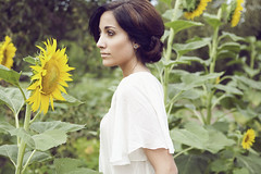 (HereNorth) Tags: sunflowers sunflower girl woman brunette updo herenorth here north photography canon eos 5d digital