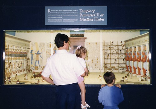 We combined a trip to visit grandparents with Will's interest in Ancient Egypt and a visit to the Milwaukee Public Museum. Terry, Christina (2) and Will (7), 1992.