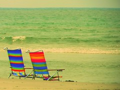 The perfect day (lostvestige) Tags: blue sunset summer sky art beach water relax photo nc rainbow sand chair perfect warm pretty day image seat picture sunny sparkle sit nikoncoolpixp100