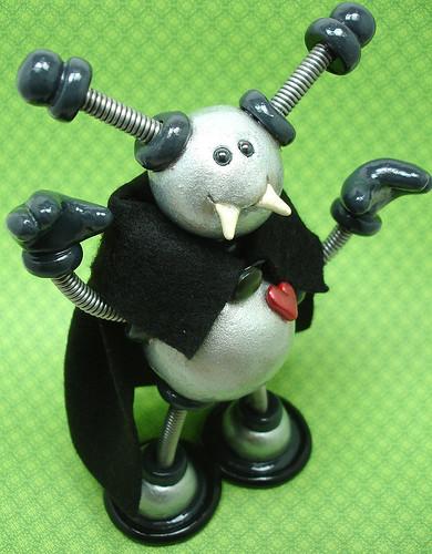 Silver Stu Vampire Robot Sculpture  by HerArtSheLoves