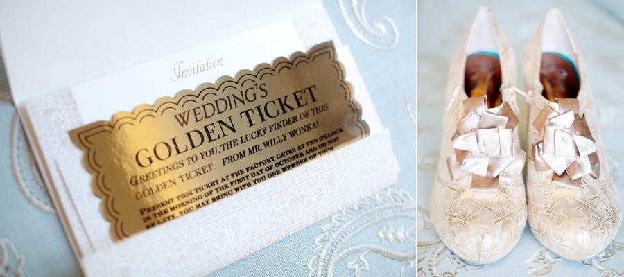Golden Ticket Wedding Invitation