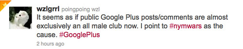 It seems as if public Google Plus posts/comments are almost exclusively an all male club now.
