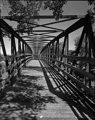 One-A-Day, 7/27/11 Blanchard River Bridge (mat4226) Tags: bridge shadow ohio bw fall film oneaday lines river diy afternoon w shift wideangle swing line 8x10 oh hp5 sync f56 rise tilt findlay ilford fujinon largeformat blanchard cliche n1 zonesystem redfilter filmphotography eastmankodak sheetfilm 11100 210mm syncopation pyrocathd homeprocessed nastylight sycopated eastmancommercialb compensatingdeveloper dilutedeveloper believeinfilm contracteddevelopment