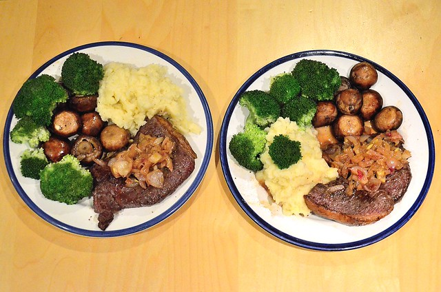 Homemade rare steak with roasted vegetables and creamy mash