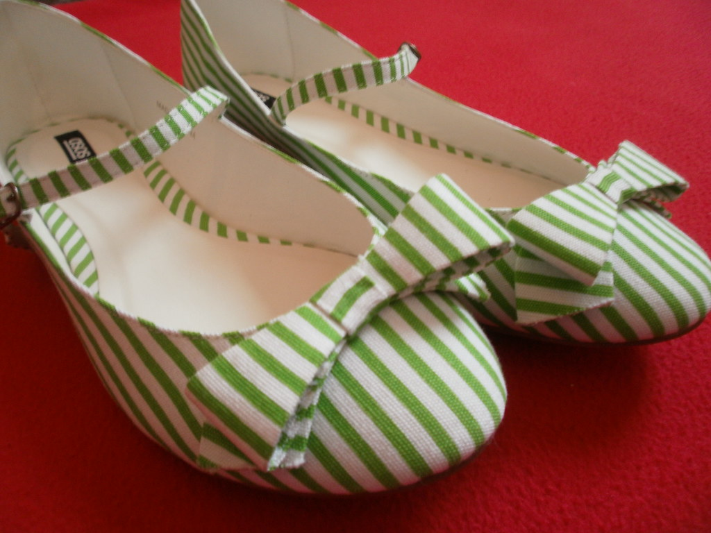 Sad when you have to let things go - cute pepperment candy striped mary janes