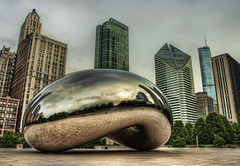 The Bean in the City (Noah J Katz) Tags: park city chicago reflection building glass metal buildings giant concrete shiny downtown skyscrapers bean structure millennium tall cloudgate stainless