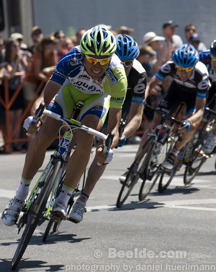 Denver, CO - Aug 28: Team Liquigas is leading the peloton at the 2011 USA Pro Cycling Challenge in Denver, CO on Aug 28, 2011