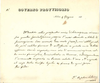 Ricevuta della sovvenzione di L. 200 firmata da Antonio Sabaini